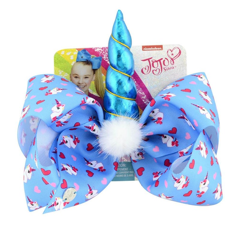 Unicorn Pattern Print Hair Bows With Clips Unicorn Horn For Girls Colorful Hairpins Hair Accessory 8 JoJo Bows
