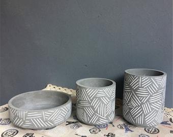 Silicone flowerpot mold stripe cement pot molds Concrete bowl design pot Molds Tall Vase Molds