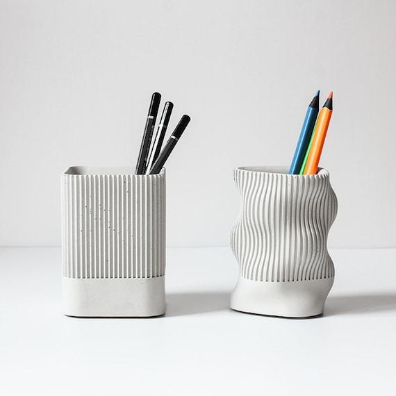 Building Walls Style Concrete Pen Holder Silicone Mold for Multi-function Fashion Office Desktop Pencil Vase Cement Molds