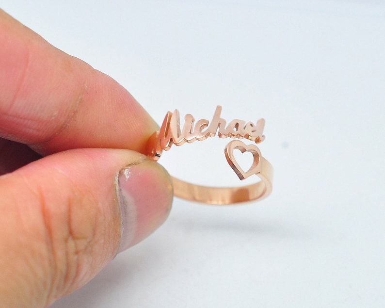 Rose Gold Heart Name Ring Personalized Spiral Style Name image 0