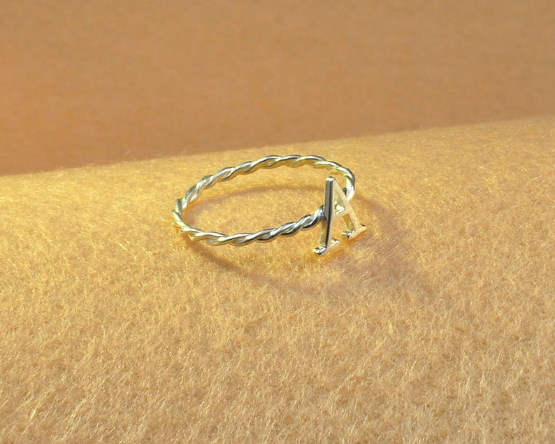 Nameplate Rings,Twist Thin Band Christmas Gift Simple Couple Ring Sterling Silver Braided Wire Ring,Custom Initial Ring