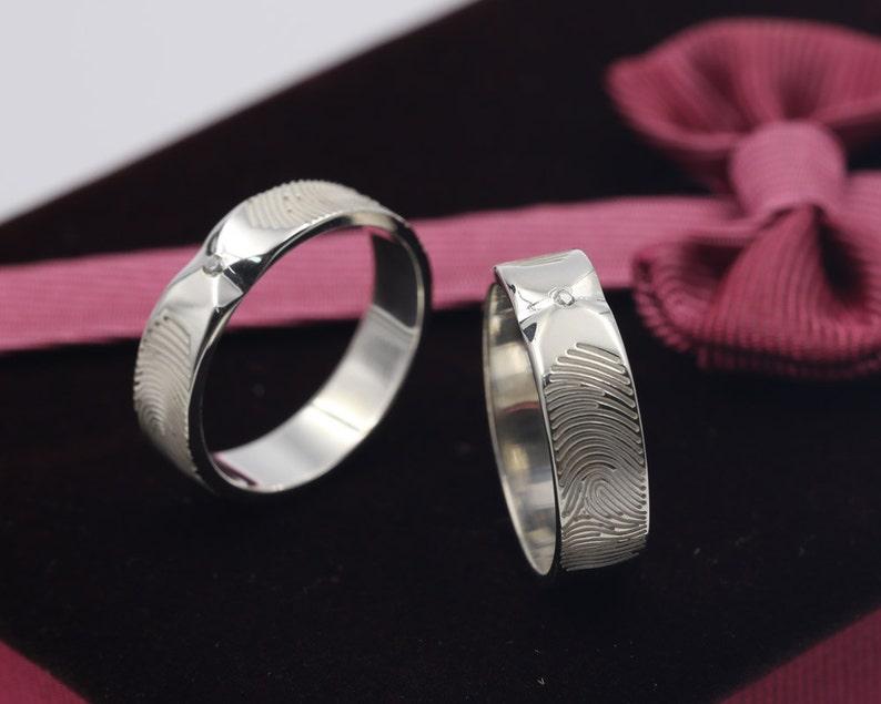 1d8d8a3613 Personalized Fingerprint Ring Set Custom Diamond Wedding | Etsy