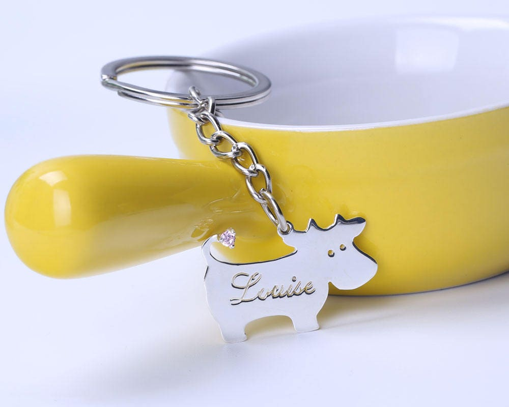 Cute Cow Keychain In 925 Sterling Silver Personalized Name
