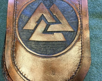 Leather belt pouch with norse Valknut symbol