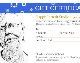 GIFT CERTIFICATE CUSTOM portrait - custom portraits - commission art