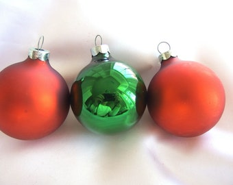 Green and Magenta Holiday Disc Ornaments from West Germany 2 Vintage UFO Christmas Ornaments