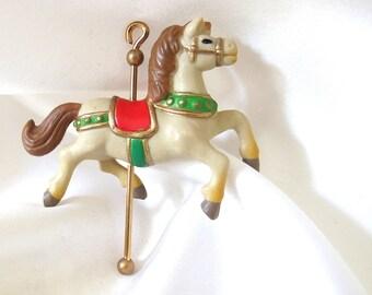 Carousel Horse Vintage Plastic Christmas Ornament