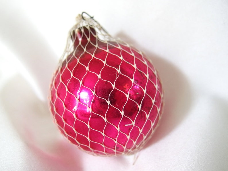 Hot Pink Christmas Ornament with Netting Vintage Ornament ...