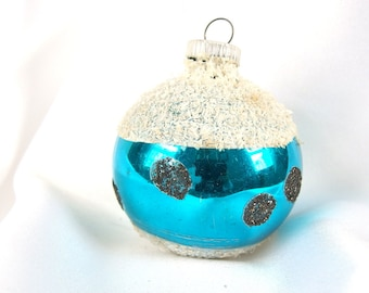 Vintage Christmas Ornament, Turquoise Polka Dot Holiday Ornament from West Germany