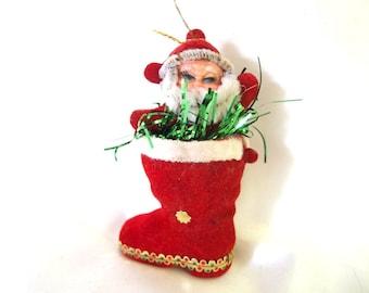 Vintage Plastic Christmas Ornament, Flocked Waving Santa Claus in Boot Christmas Ornament