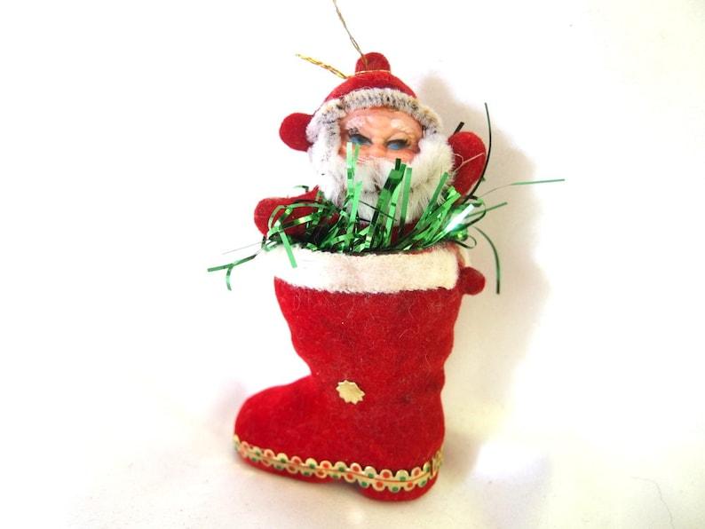 Vintage Plastic Christmas Ornament Flocked Waving Santa Claus Etsy