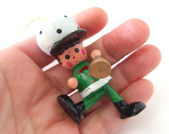 Green Wood Soldier, Vintage Hand Painted Christmas Ornament
