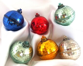 6 Vintage Plastic Christmas Ornaments - Red, Blue, Gold, Silver and Green Faceted Plastic Disco Balls