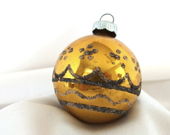 Vintage Christmas Ornament, Black and Gold Shiny Brite Ornament