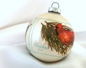 Vintage Hallmark Christmas Ornament - Matte White with Sleeve - Cardinals on Pine, Large USA Ornament