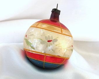 Large Vintage Christmas Ornament - Red, White and Blue with White Flowers Glass Bauble