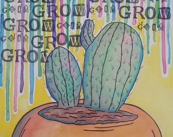 Grow Cactus Print
