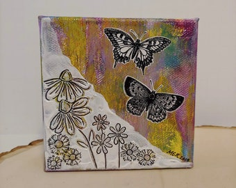Butterfly Garden Small Canvas