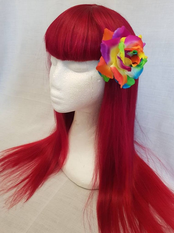 Pride rainbow rose multi coloured hair flower.