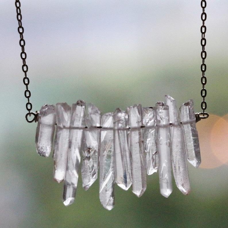 raw quartz necklace natural crystal necklace White Quartz Necklace gemstone necklace Raw crystal necklace crystal strand necklace