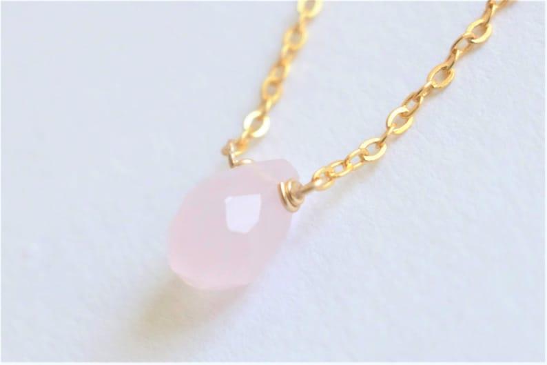rose quartz droplet necklace crystal necklace quartz necklace gemstone necklace Tiny rose quartz Necklace natural crystal necklace