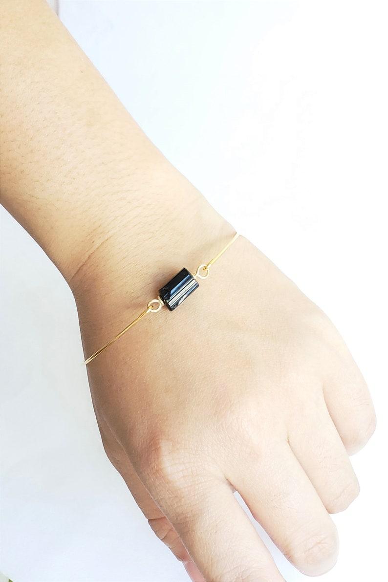 Tiny crystal bracelet Black tourmaline bracelet quartz bracelet thin gold bracelet bridesmaid gift simple gold cuff bracelet