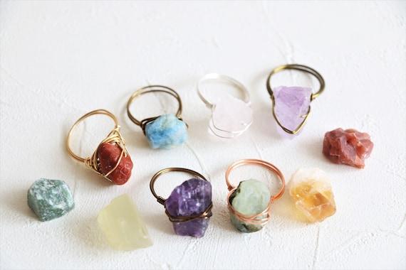 Unique Design Silver Gypsy Rings Melio Jewels Rutilated Quartz One Stone Ring Large Birth Stone Ring Iridescent Quartz Stone Ring