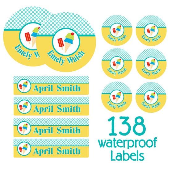 Lot of 2 Emoji Peel /& Stick Name Labels Waterproof Dishwasher Safe Pkg of 30