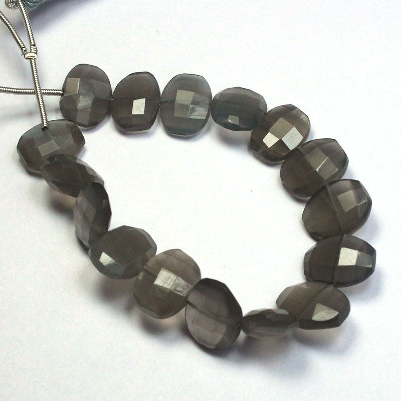 Natural Black MOONSTONE Oval Faceted BEads 9x12mm approx ...
