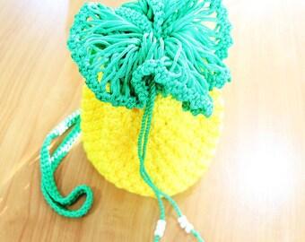 "Cute Handmade Crochet Handbag, Yellow Pine Apple Bag – 4.25"""