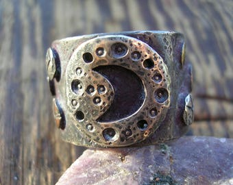 handmade sterling crescent moon rune and planets ring with gold and copper