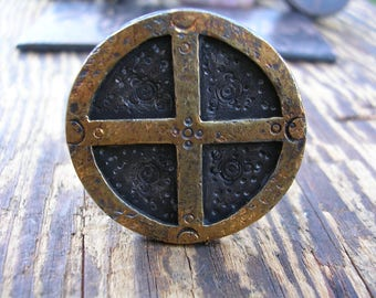 Esoteric elemental magic sunwheel ring sterling 23k keum boo gold ORTVS hidden prayer ring