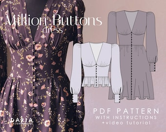 Buttoned V-neck dress and blouse - EU 32-52 US 0-20 - 2 cup options - Instant download A4 PDF sewing pattern - Million Buttons Dress