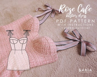 UPDATED Soft cup bustier bodice dress - EU 32-52 US 0-20 - Instant download A4 pdf sewing pattern - Rose Cafe Bustier Dress