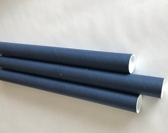 set of 10 Blue Shipping Tubes cardboard tube colored
