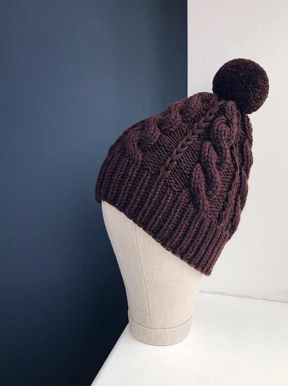 Brown Merino Wool Beanie with Pom-pom Ready to Ship   The  261a4bd373b
