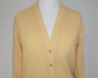Vintage 70s lemon granny style cardigan by Warmspun size large