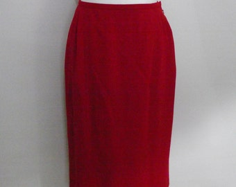 Vintage Jaeger 80s skirt red pure new wool skirt size large