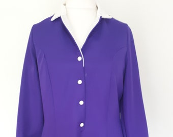Vintage 60s 70s fit and flare dress purple white contrast collar cuffs shirt waister size extra large