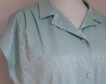 Vintage 80s dress mint green shirt waister - made in the United Kingdom size extra large