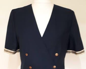 Vintage blazer jacket 80s short sleeve navy jacket with white gold trim nautical style size large