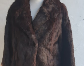 Vintage 1960/'s Faux Fur and Real Leather Chocolate Brown CoatOrnate Clasp ClosuresSize Small to Medium
