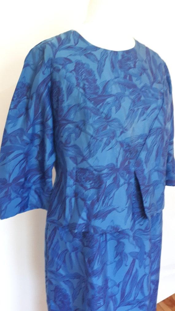 Black with XL waist peplum floral of silk size large London 50s dress extra blue Vintage Sarah q4wnEzpHZ