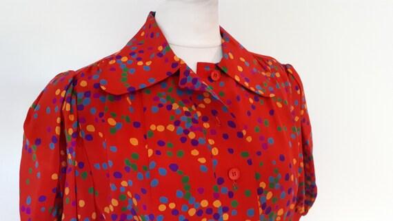 dress 80s Medium silk 70s Vintage to Laurent Yves spotted Saint size Laurent Small Saint red HvxUna5