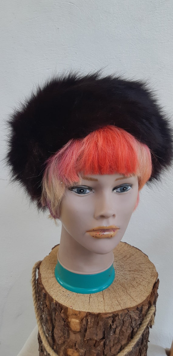 Vintage fur Hat 60s Brown genuine Fur pill box Hat