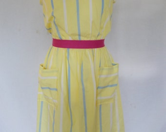 Vintagedress 80's does 50's yellow striped dress size UK 12 Medium