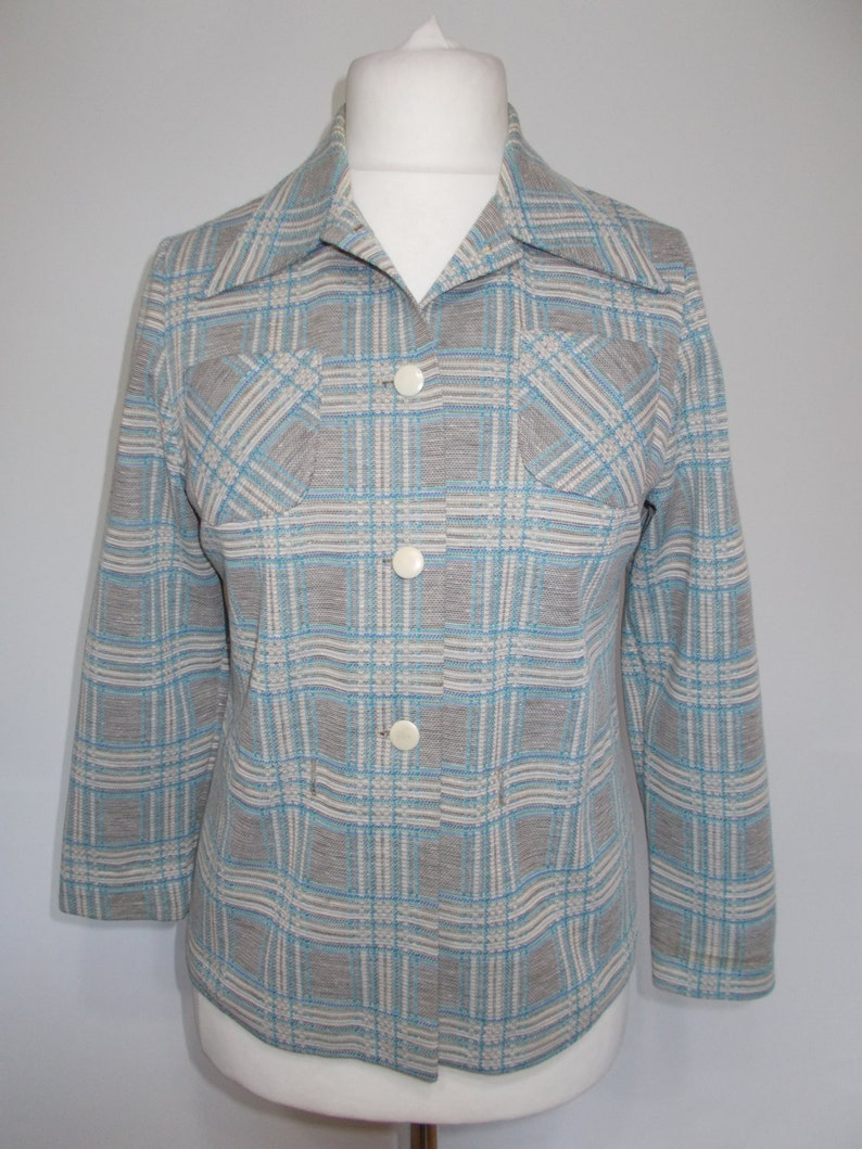 Vintage checked shirt 60s duck egg blue checked dagger collar medium to large