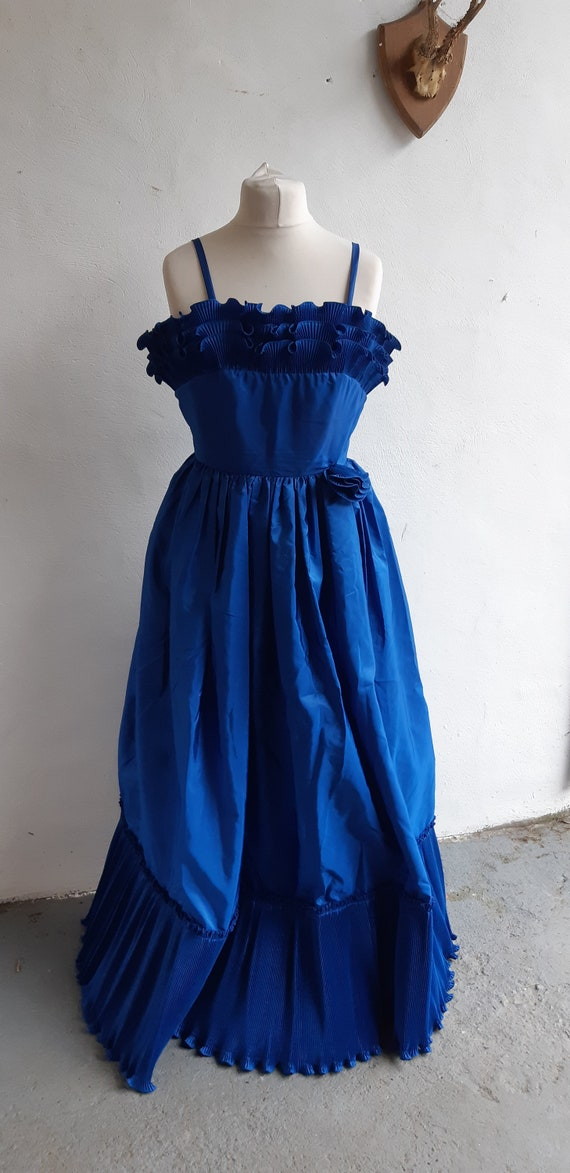 Vintage maxi dress 1980s by The House of Nicholas of London blue full length gown size small to medium