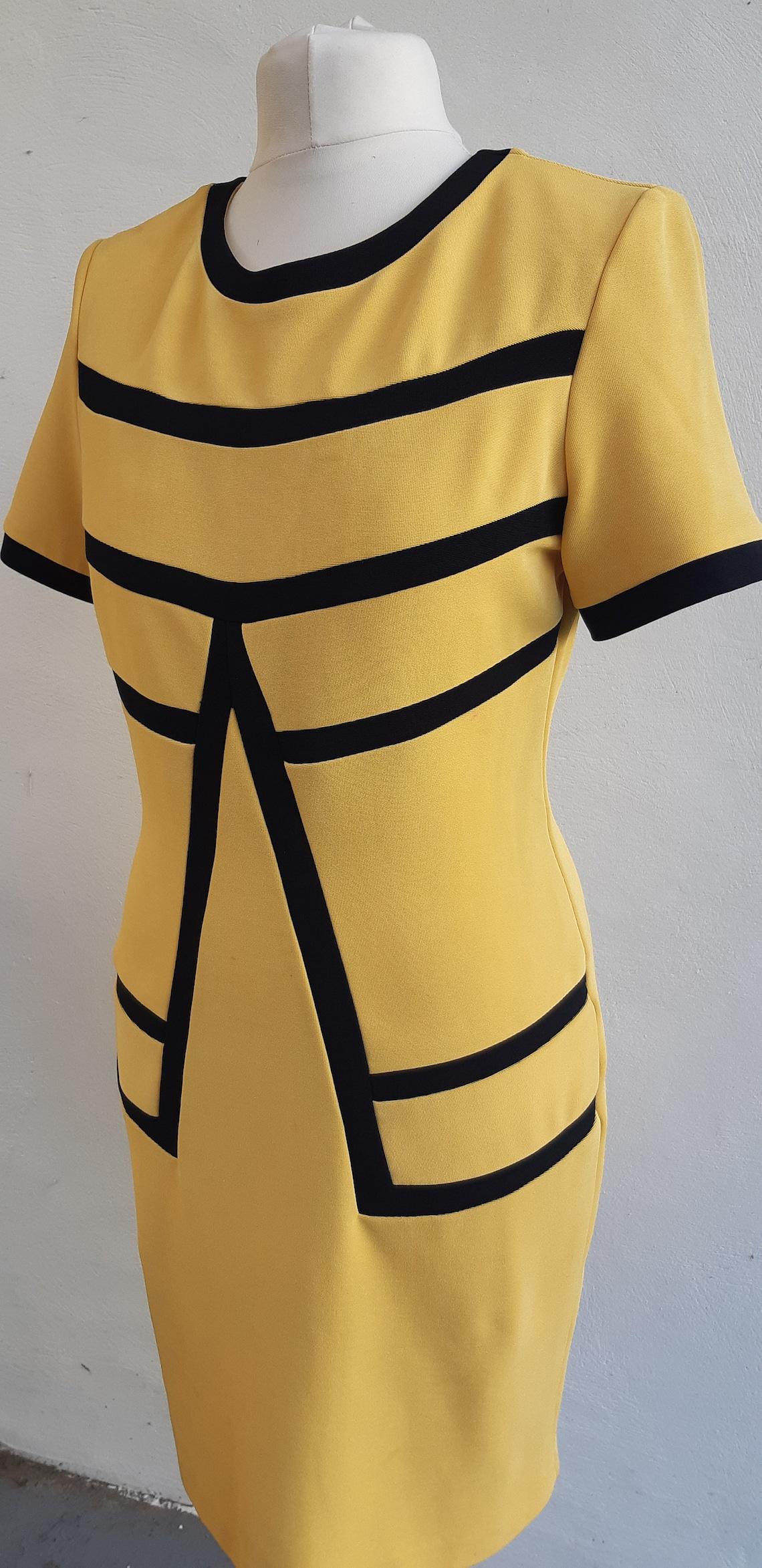 Vintage dress Joseph Ribkoff Creations 90s yellow lemon dress