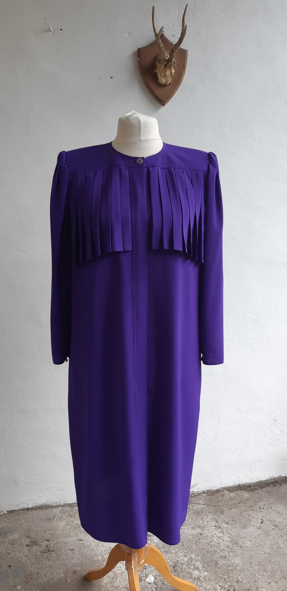 Vintage Frank Usher 80s dress purple pleated dress